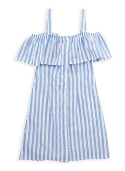 Girls 7-16 Striped Off the Shoulder Dress - 1615038340084
