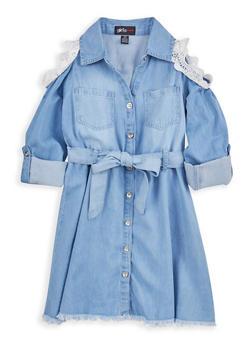 Girls 7-16 Crochet Trim Denim Shirt Dress - 1615038340086