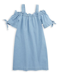 Girls 7-16 Off the Shoulder Denim Dress - 1615038340087