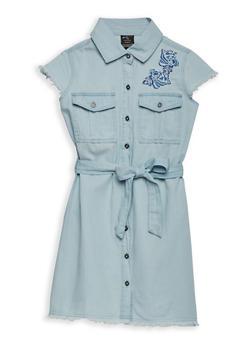 Girls 7-16 Embroidered Denim Dress - 1615038340095