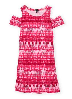 Girls 7-16 Tie Dye Cold Shoulder Dress - 1615038340103