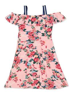 Girls 7-16 Off the Shoulder Floral Skater Dress - 1615038340241