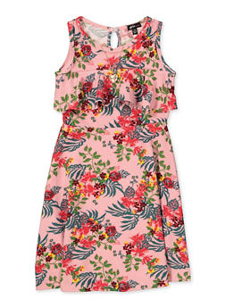 Girls 7-16 Floral Ruffled Skater Dress with Necklace - 1615038340250