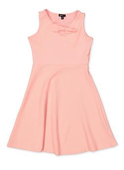 Girls 7-16 Bow Textured Knit Skater Dress - 1615038340251