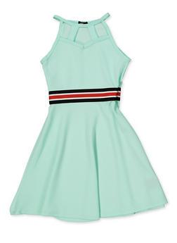 Girls 7-16 Striped Tape Caged Skater Dress - 1615038340252
