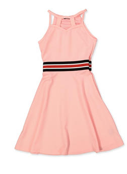 Girls 7-16 Striped Tape Caged Skater Dress - 1615038340252