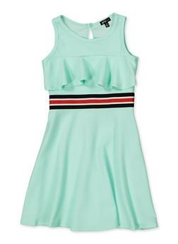 Girls 7-16 Striped Tape Ruffle Skater Dress - 1615038340253