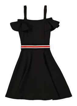 Girls 4-16 Striped Elastic Band Skater Dress - 1615038340254