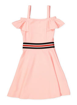 Girls 4-16 Striped Elastic Band Skater Dress - 1615038340254