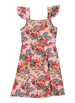 Girls 7-16 Floral Flutter Cap Sleeve Dress with Necklace - 1615038340255