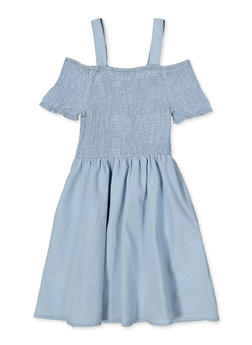 Girls 7-16 Smocked Denim Skater Dress - 1615038340260