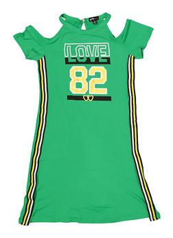 Girls 7-16 Love Cold Shoulder T Shirt Dress - 1615038340265