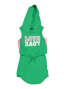 Girls 7-16 Hooded Love Overlay Tank Dress - 1615038340268