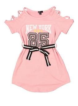 Girls 7-16 Graphic Caged Shoulder T Shirt Dress - 1615038340269