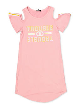 Girls 7-16 Trouble Graphic Cold Shoulder Dress - 1615038340270