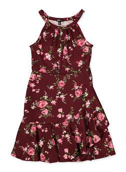 Girls 7-16 Floral Textured Knit Dress - 1615038340275