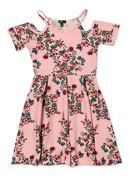 Girls 7-16 Floral Cold Shoulder Knit Skater Dress - 1615038340276