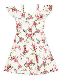 Girls 7-16 Floral Off the Shoulder Skater Dress - 1615038340278