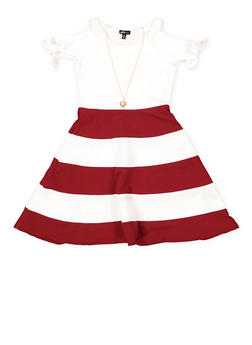 Girls 7-16 Color Block Skater Dress with Necklace - 1615038340279