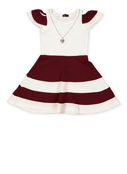 Girls 7-16 Color Block Skater Dress with Necklace - 1615038340280