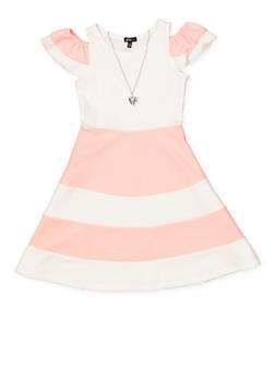 Girls 7-16 Color Block Tiered Sleeve Skater Dress - 1615038340281