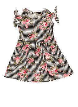 Girls 7-16 Striped Floral Skater Dress - 1615038340282