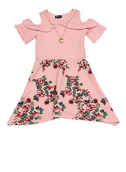 Girls 7-16 Ruffled Cold Shoulder Floral Skater Dress | 1615038340283 - 1615038340283