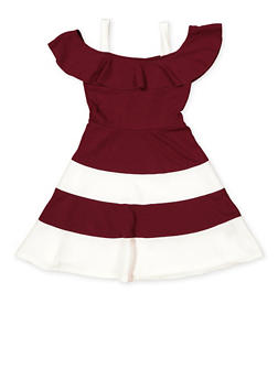 Girls 7-16 Off the Shoulder Color Block Skater Dress - 1615038340286