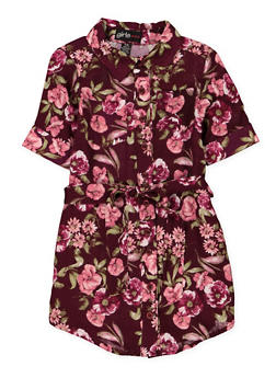 Girls 6x-16 Belted Floral Shirt Dress - 1615038340290