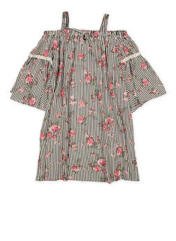 Girls 7-16 Floral Striped Off the Shoulder Dress - 1615038340291