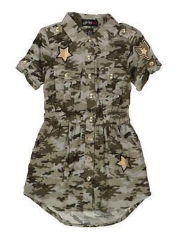 Girls 4-16 Camo Shirt Dress - 1615038340292