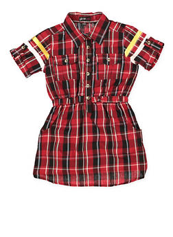 Girls 7-16 Love Graphic Half Button Plaid Dress - 1615038340293