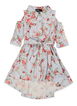 Girls 7-16 Floral Striped Cold Shoulder Shirt Dress - 1615038340294