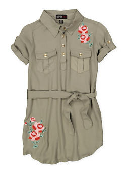 Girls 6x-16 Embroidered Shirt Dress - 1615038340295