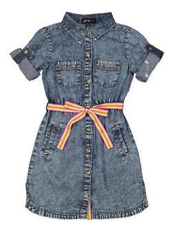 Girls 7-16 Studded Denim Skater Dress - 1615038340296