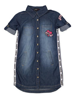 Girls 7-16 Love Tape Embroidered Denim Dress - 1615038340297