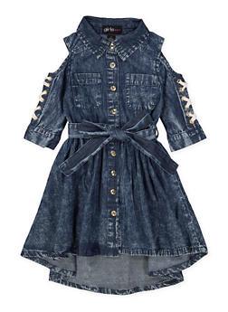 Girls 7-16 Denim Cold Shoulder Shirt Dress - 1615038340298