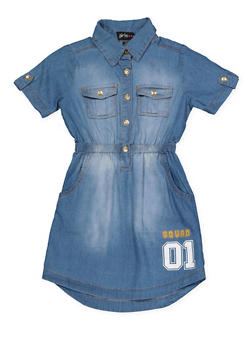 Girls 7-16 Fierce Squad 01 Denim Dress - 1615038340315
