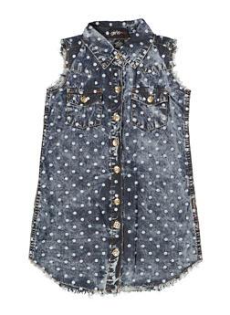 Girls 7-16 Polka Dot Chambray Shirt Dress - 1615038340317