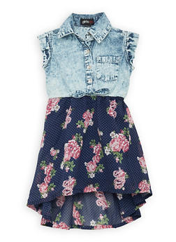 Girls 7-16 Floral and Denim High Low Dress - 1615038340319