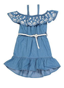 Girls 7-16 Belted Off the Shoulder Denim Dress - 1615038340320