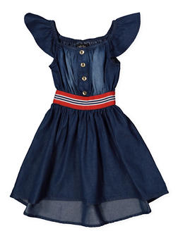 Girls 7-16 Denim Skater Dress - 1615038340321