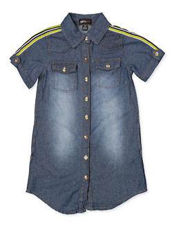 Girls 7-16 Striped Tape Detail Denim Shirt Dress - 1615038340325