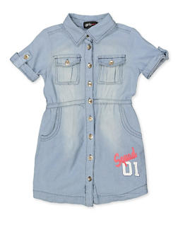 Girls 7-16 Squad Graphic Denim Shirt Dress - 1615038340326