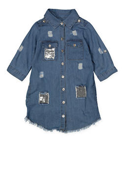 Girls 7-16 Reversible Sequin Distressed Denim Dress - 1615038340327
