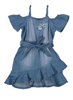 Girls 7-16 Denim Ruffle Hem Skater Dress - 1615038340328