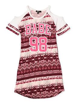 Girls 7-16 Babe Graphic Tie Dye Dress - 1615038340330