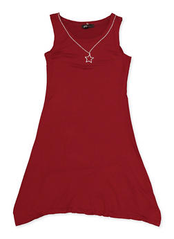 Girls 7-16 Soft Knit High Low Dress with Necklace - 1615038340336