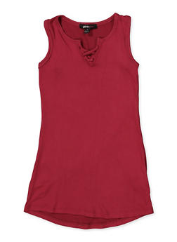 Girls 7-16 Caged Neck Tank Dress - 1615038340339