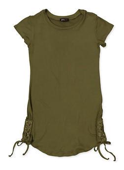 Girls 7-16 Lace Up Side T Shirt Dress - 1615038340341